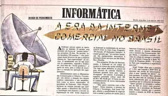 Diario noticia início das operações de internet no Brasil em 1995. Foto: Reprodução.