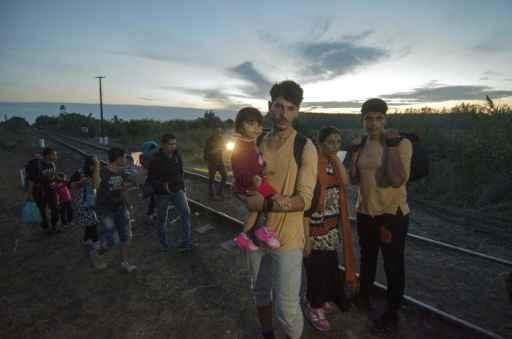 Família de migrantes caminha entre trilhos na fronteira entre Hungria e Sérvia. Foto: Csaba Segesvari/AFP