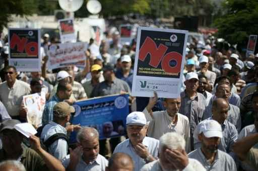 Trabalhadores palestinos fazem greve na Cidade de Gaza. Foto: Mohammed Abed/AFP