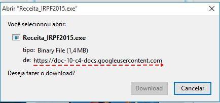 Link leva o usuário a baixar programa de site que não é da Receita Federal. Foto: Reprodução