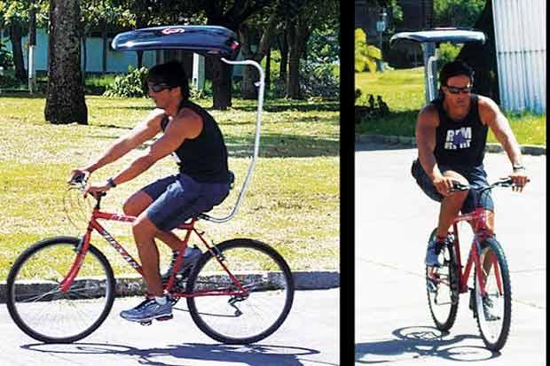Acessório promete proteger ciclistas do sol. Foto: Divulgação
