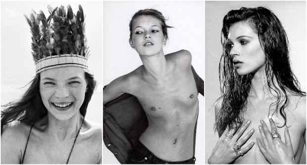 A top Kate Moss ganhou fama nos anos 1990 e propagou o estilo grunge. Fotos: Corinne Day/Divulgação