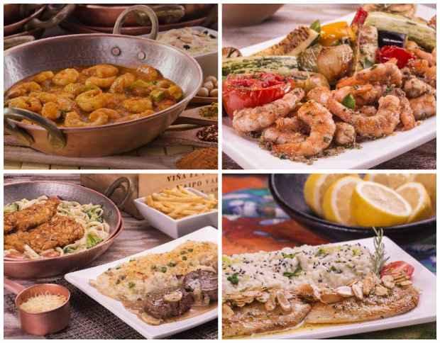 Casablanca (na primeira foto) se destaca pelo toque agridoce. Camarões ganham a companhia de pratos principais com mignon, frango, tilápia e salmão