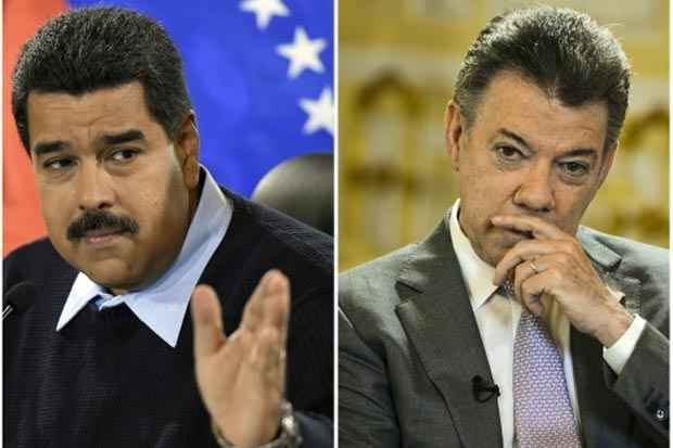 O presidente venezuelano, Nicolás Maduro (E), e seu homólogo colombiano, Juan Manuel Santos. Foto: Barreto/Acosta/AFP/Arquivos