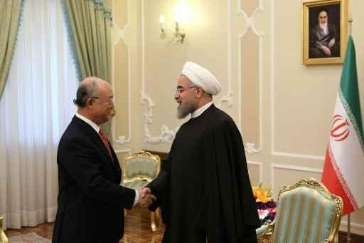 Presidente iraniano Hassan Rohani se encontra com Yukiya Amano em 20 de setembro de 2015 em Teerã - Foto: President.Ir/AFP  (Presidente iraniano Hassan Rohani se encontra com Yukiya Amano em 20 de setembro de 2015 em Teerã - Foto: PRESIDENT.IR/AFP )