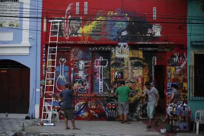 Fachada do IRAQ ganhou grafitagem do Coletivo Vacilante. Foto: José Afonso Júnior/Reprodução