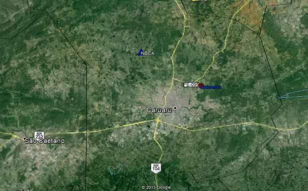 Mapa mostra a localização do epicentro do tremor e da estação de Caruaru. Foto: Sismos do Nordeste/Divulgação