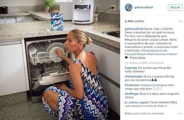 Internautas não perdoaram postagem de Galisteu, marcada com o selo ''publicidade'' no Instagram. Foto: Instagram/Reprodução