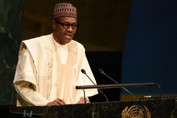 O presidente da Nigéria, Muhammadu Buhari, discursa na ONU, em Nova York, no dia 28 de setembro de 2015. Foto: Don Emmert/AFP