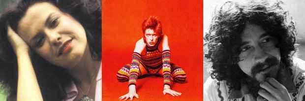 Elis Regina, David Bowie e Raul Seixas. Fotos: Divulgação