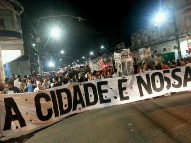 Segundo a Polícia Militar, 300 pessoas participam do movimento. Foto: Larissa Rodrigues/DP/D.A Press
