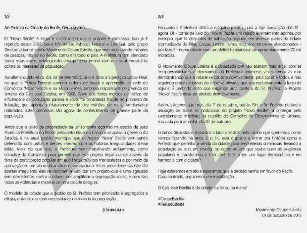Clique para ampliar. Movimento Ocupe Estelita/Facebook/Reprodução