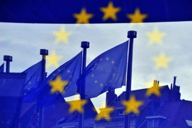 Bandeiras da União Europeia, em Bruxelas, no dia 21 de maio de 2014. (Foto: Georges Gobet/AFP Photo)