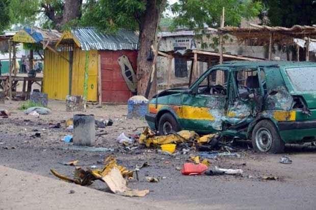Local de explosão em Maiduguri, no dia 31 de julho de 2015. Foto: Str/AFP/Arquivos