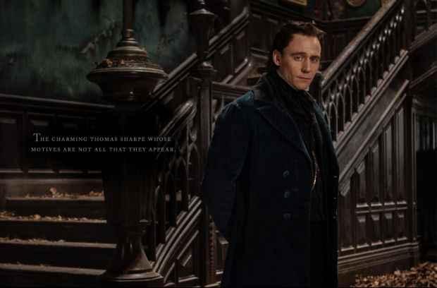 Tom Hiddleston contracena com Jessica Chastain em A Colina Escarlate. Foto: Universal Pictures/Divulgação