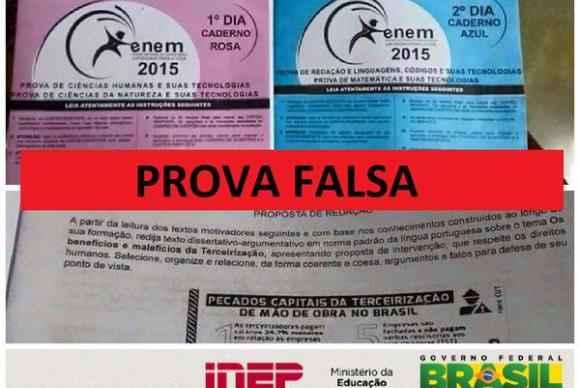 Inep diz que são falsas fotos que circulam na internet de supostas provas do Enem. Foto: Inep/Divulgação