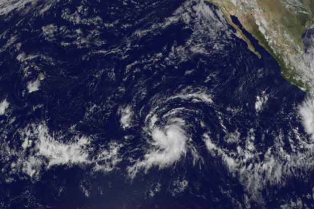 A tempestade tropical Olaf sobre o Pacífico. Foto: Nasa/AFP.