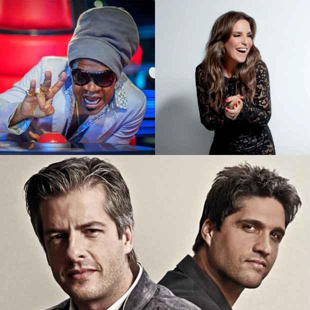 Carlinhos Brown, Ivete e Victor & Léo, jurados do The Voice Kids. Foto: Divulgação