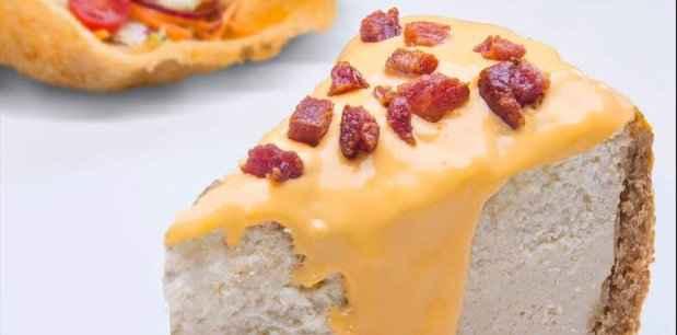 Entre os sasbores salgados está o cheesecake de cheddar. Foto: RioMar Recife/Divulgação.
