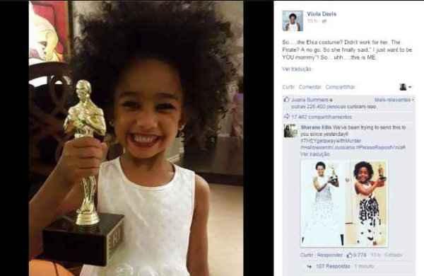 Genesis Tennon, de 4 anos, imita a mãe, Viola Davis, em sua fantasia de Haloween - Foto: Facebook/Reprodução (Foto: Facebook/Reprodução)