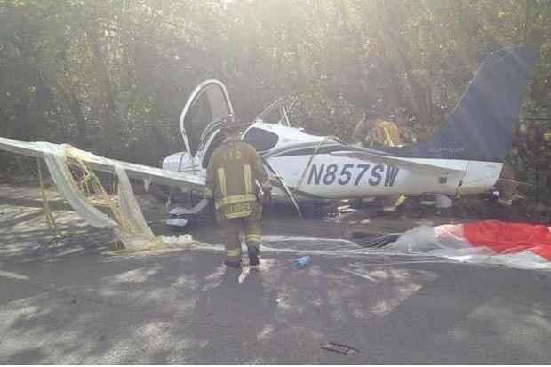 Monomotor teve uma falha no sistema de óleo. Foto: Fayetteville Fire Dept/Divulgação