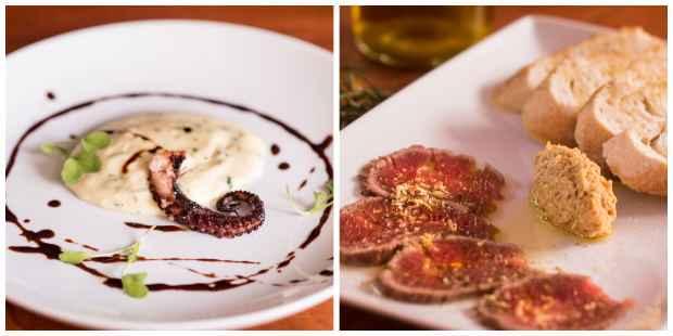 Nos pratos de entrada o cliente pode escolher entre polvo ou tiras de rosbife. Fotos: Natalia Teixeira/Divulgação