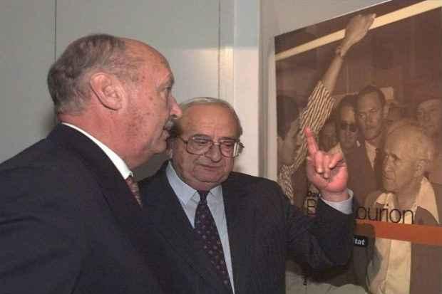 (Arquivo) O ex-presidente de Israel Yitzhak Navon (D), em Marselha. Crédito: Boris Horvat/AFP/Arquivos