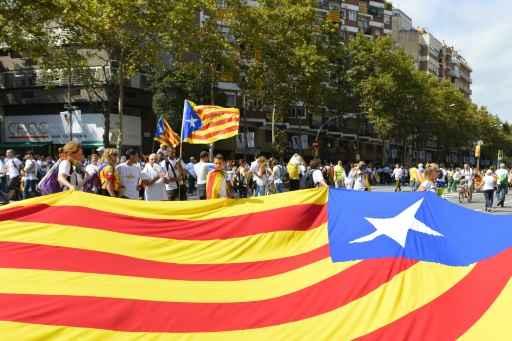 A bandeira da Catalunha é vista durante manifestação, em Barcelona, no dia 11 de setembro de 2015 Foto: AFP Gerard Julien, Gerard Julien