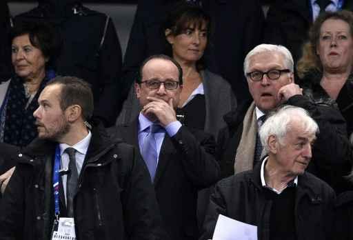 François Hollande e Frank-Walter Steinmeier no Stade de France. Foto: AFP FRANCK FIFE