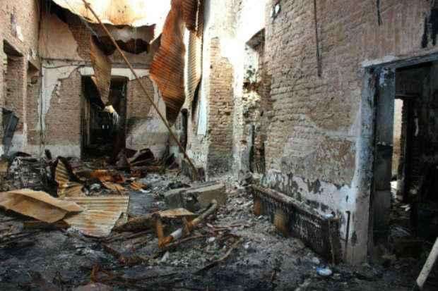 Hospital da MSF foi destruído num bombardeio em Kunduz, no Afeganistão, em outubro. Foto: AFP NAJIM RAHIM