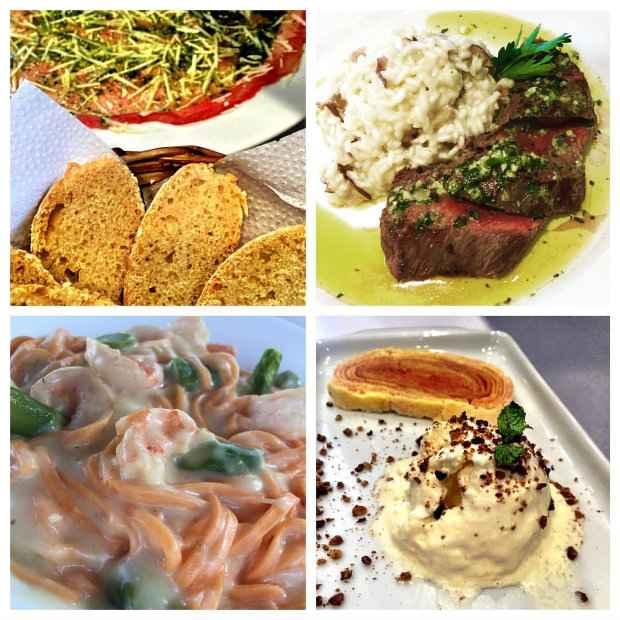 Carpaccio; Filé com risoto de funghi; Linguine com camarões e aspargos; Bolo de rolo com sorvete de queijo. Fotos: Facebook/reprodução