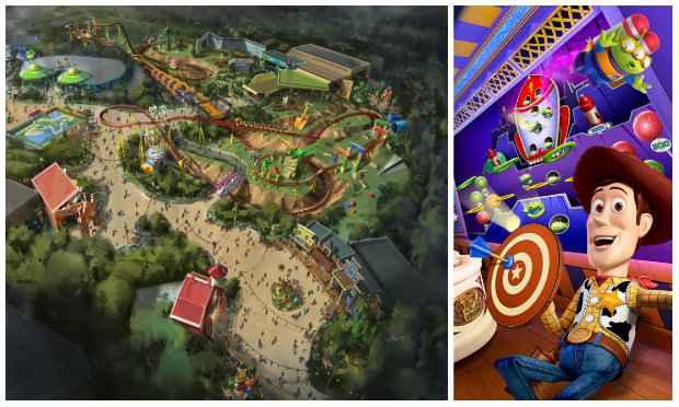 """Hollywood Studios vai ganhar também o """"quintal do Andy"""", com a turma do Toy Story. Vai ter até uma montanha-russa do cãozinho metálico"""