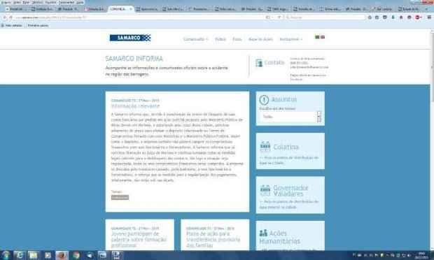 Comunicado foi publicado no site da mineradora. Foto: Reprodução da internet