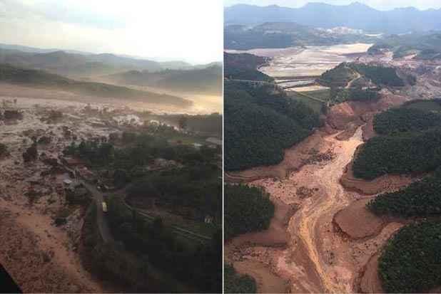 O rastro dos rejeitos: Fundão já tinha obras para atingir seu máximo, o que antes havia sido projetado só para 2020/22. Foto: CBMMG/Divulgação