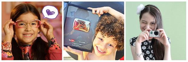 Bel (esq.), Isaac do vine e Julia Silva são algumas das crianças que fazem verdadeiro sucesso no YouTube. Fotos: YouTube/Reproducao da Internet