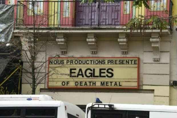 Anúncio do show do Eagles of Death Metal, no Bataclan, em Paris, em 18 de novembro de 2015. Foto: AFP DOMINIQUE FAGET