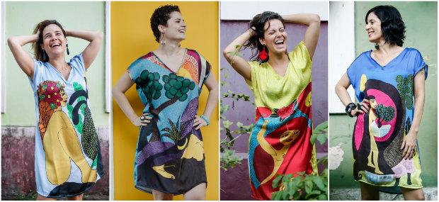 As quatro estampas foram reproduzidas em quantidade limitada de vestidos. Fotos: Andrea Rego Barros/Divulgação