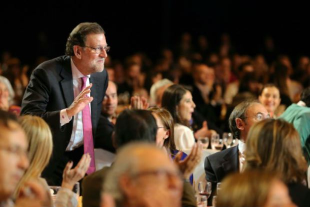O chefe de Governo da Espanha, Mariano Rajoy, durante o último evento da campanha do Partido Popular, em Madri. Foto: AFP César Manso