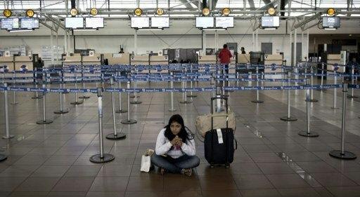 Greve afeta terminal de Arturo Merino Benitez, no aeroporto internacional de Santiago, no Chile. Foto: Martin Bernetti/AFP Photo