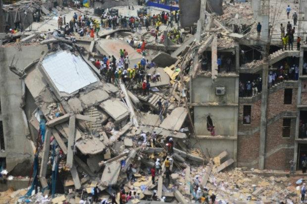 O Rana Plaza desabou em Savar em abril de 2013, matando pelo menos 1.100 pessoas. Foto: AFP/Arquivos Munir Uz Zaman.