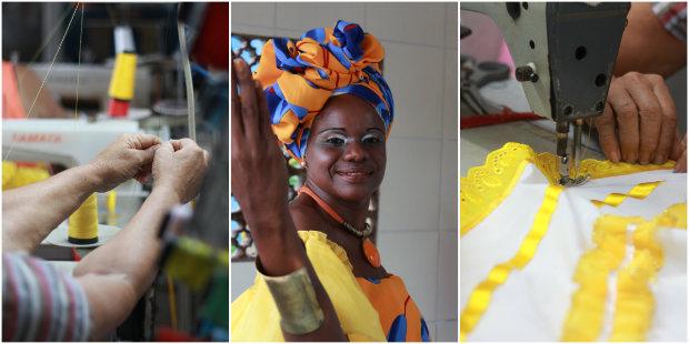 """O Afoxé Oxum Pandá se veste de """"ouro"""" em homenagem a Oxum. Fotos: Brenda Alcântara/DP"""