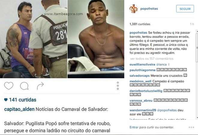 Popó denuncia prisão no instagram. Crédito: Instagram/reprodução