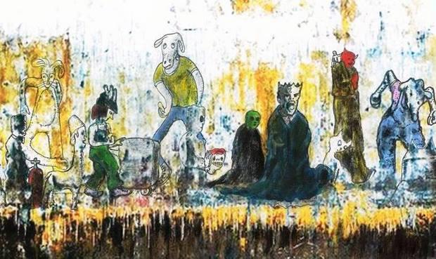 Luiz desenha criaturas sobre fotos de paredes manchadas e marcadas pela passagem do tempo