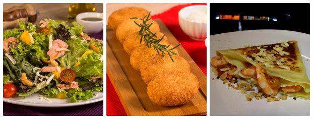 Menu variado apresenta saladas, petiscos e crepes. Fotos: Paloma Amorim/Divulgação
