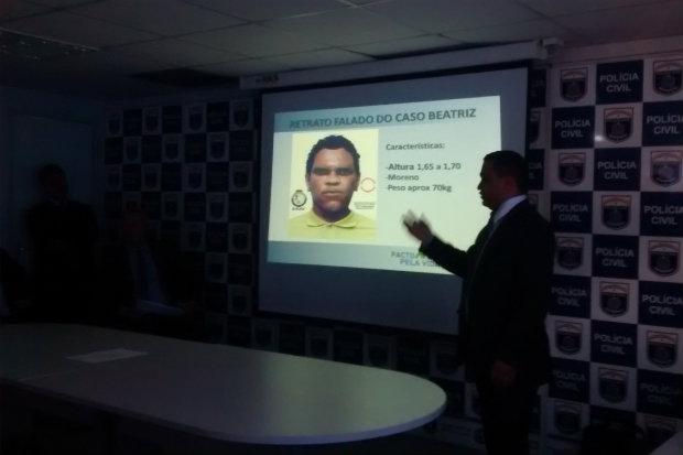 Polícia divulgou nesta segunda, no Recife, o retrato falado do suspeito de cometer o crime. Foto: Carol Sá Leitão/Esp DP