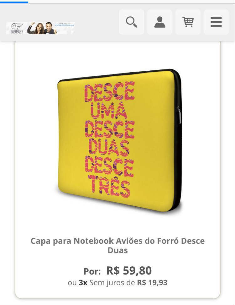 Produtos com as letras das músicas, alvos de processo, são vendidos no site da banda Aviões do Forró. Foto: Reprodução da internet
