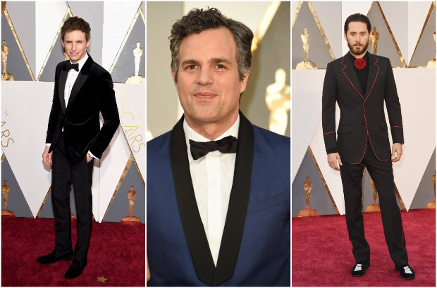 Eddie Redmayne, Mark Ruffalo e Jared Leto desfilaram estilos diferentes no red carpet. Fotos: The Academy/Reprodução da internet e Getty Images/AFP