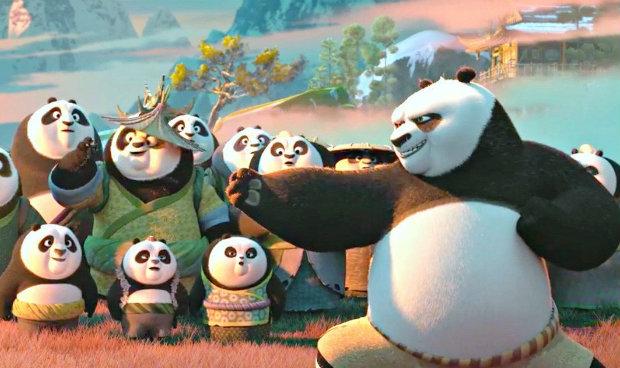 Po (Jack Black) encontra seu pai sumido em Kung Fu Panda 3. Foto: Divulgação