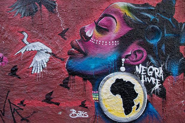 No graffiti pernambucano, o empoderamento da mulher é um dos temas marcantes, como no desenho de Boris. Foto: Josivan Rodrigues/Divulgação