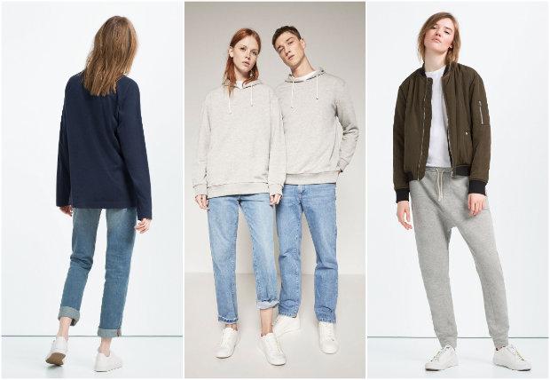 A coleção Ungendered, da Zara, mescla modelagens femininas e masculinas, com cores sóbrias e cortes largos. Fotos: Zara/Divulgação